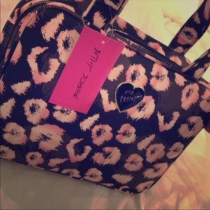 Betsey Johnson Light Brown & Pink Makeup Bag